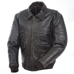 Mossi Men's 'A-2 Bomber' Premium Leather Jacket - Thumbnail 0