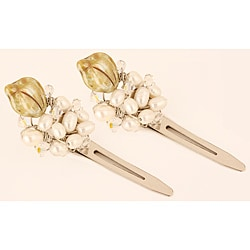 Pearl and Crystal Leaves Hair Clips (Set of 2)