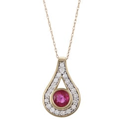 FJC 14k Gold Ruby and 1/3ct TDW Diamond Necklace (H-I, I1-I2)