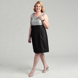 Jessica Howard Women's Plus Size Black/Silver Pleated Ruffle Neck Dress FINAL SALE