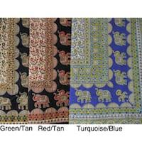 Handmade Cotton Elephant Star Tapestry (India)