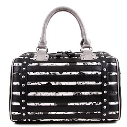 Nicole Lee 'Hailie' Striped Flower Boston Bag