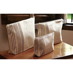 Set of 3 Cotton 'Happiness' Cosmetic Bags (Guatemala)