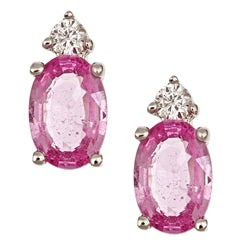 Anika and August 14k White Gold Pink Sapphire and Diamond Accent Earrings (G-H) (I1-I2)