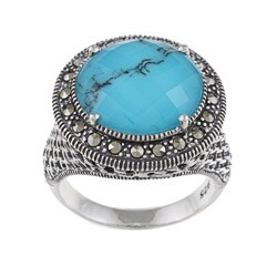 MARC Sterling Silver Crystal & Turquoise Doublet and Marcasite Ring