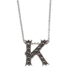 MARC Sterling Silver Marcasite Initial 'K' Necklace