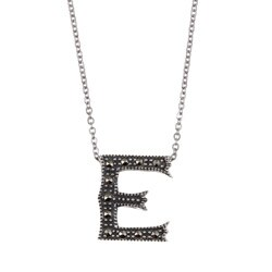 MARC Sterling Silver Marcasite Initial 'E' Necklace