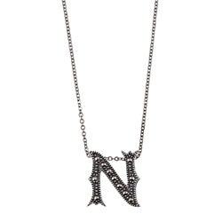 MARC Sterling Silver Marcasite Initial 'N' Necklace