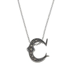 MARC Sterling Silver Marcasite Initial Necklace