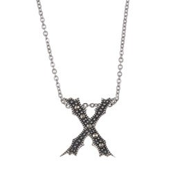 MARC Sterling Silver Marcasite Initial 'X' Necklace