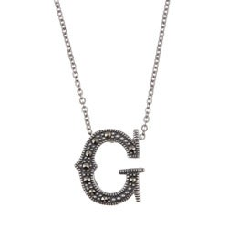 MARC Sterling Silver Marcasite Initial 'G' Necklace