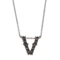 MARC Sterling Silver Marcasite Initial 'V' Necklace