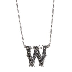 MARC Sterling Silver Marcasite Initial 'W' Necklace