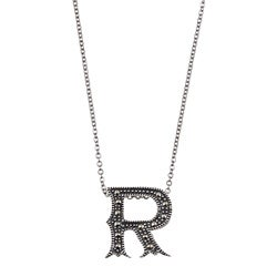 MARC Sterling Silver Marcasite Initial 'R' Necklace