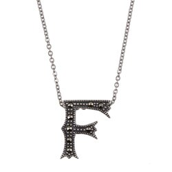 MARC Sterling Silver Marcasite Initial 'F' Necklace