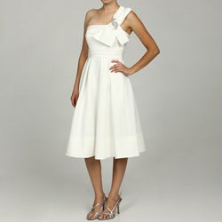 Eliza J Women's Ivory One-shoulder Short Bridal Dress