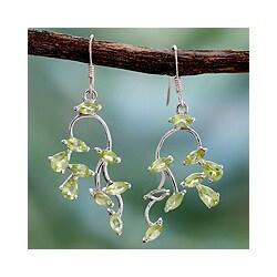 Sterling Silver 'Drifting Petals' Peridot Dangle Earrings (India)