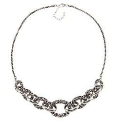 Sunstone Sterling Silver Oxidized Bali Filigree Link Necklace