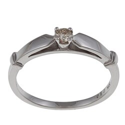10k White Gold 1/10ct TDW Yellow Diamond Solitaire Ring
