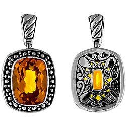 Sterling Silver Rectangular Citrine Bead Detailing Pendant (Indonesia)