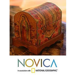 Pinewood 'Beloved Virgin of Guadalupe' Decoupage Chest (Mexico)