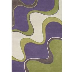 Hand-tufted Large Waves Purple Wool Rug (5' x 8')