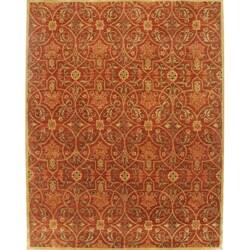 Alliyah Handmade Burgundy New Zealand Blend Wool Rug (10u0027 X 12u0027)