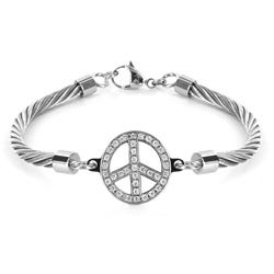 West Coast Jewelry Stainless Steel Cubic Zirconia Peace Symbol Bracelet