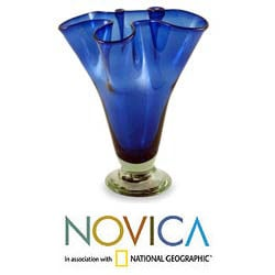 Handblown Glass 'Cobalt Patch' Vase , Handmade in Mexico