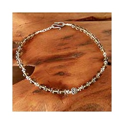 Sterling Silver 'Harmony' Smoky Quartz Anklet (India)