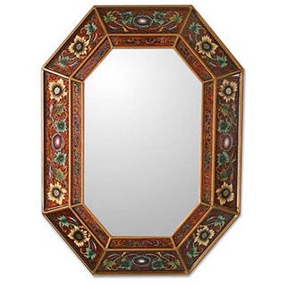 Handcrafted Reverse-painted Glass 'Colonial Red' Wall Mirror (Peru)