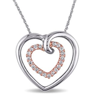 Miadora 10k Two-tone Gold 1/4ct TDW Diamond Heart Necklace