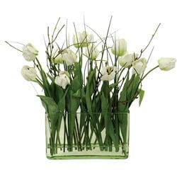 White Tulips in Glass 19-inch Rectangular Vase