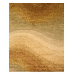 Hand-tufted Wool Gold Contemporary Abstract Morono Rug (7'9 x 9'9)
