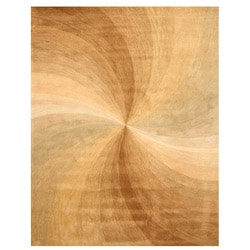 Hand-tufted Wool Gold Contemporary Abstract Swirl Rug (4' x 6') - 4' x 6' - Thumbnail 0