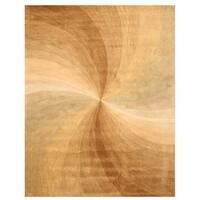 Hand-tufted Wool Gold Contemporary Abstract Swirl Rug (4' x 6') - 4' x 6'