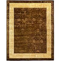 "Safavieh Handmade Silk Road Chocolate/ Light Gold New Zealand Wool Rug - 8'3"" x 11'"