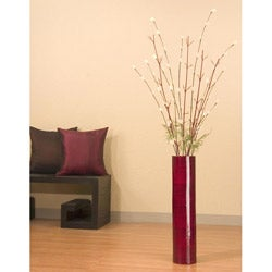 Ivory Florets with 25-inch Bamboo Floor Vase
