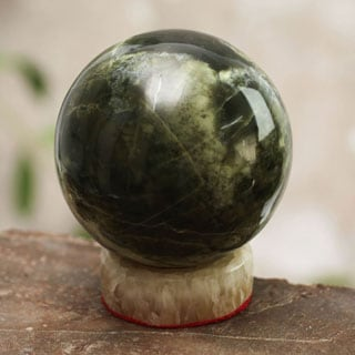 Handcrafted Serpentine 'Marine Depths' Sphere Sculpture , Handmade in Peru