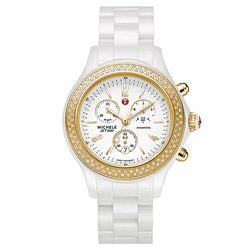 Michele Women's 'Jetway' White Ceramic Diamond Gold Watch