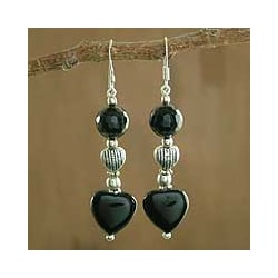 Sterling Silver 'Night of Love' Onyx Earrings (India)
