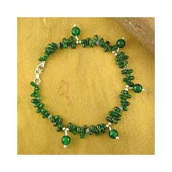 Sterling Silver 'Forest' Aventurine Anklet (India)