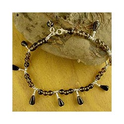 Sterling Silver 'My Muse' Smoky Quartz Anklet (India)