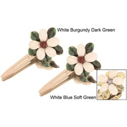 White Floral Hair Clips