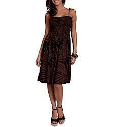 Handmade 1 World Sarongs Women's Brown Palm Print Strapless Sun Dress (Indonesia)