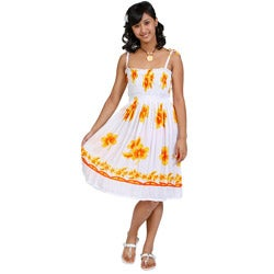 1 World Sarongs Women's White Yellow Hibiscus Floral Sun Dress (Indonesia)