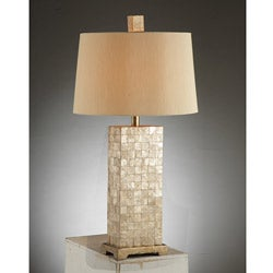 Rectangular Mother Of Pearl Tile Table Lamp