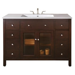 Avanity Lexington 48-inch Single Vanity in Light Espresso Finish with Sink and Top
