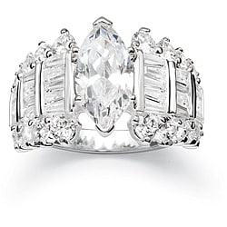 Ultimate CZ Cubic Zirconia Silver Marquise Ring