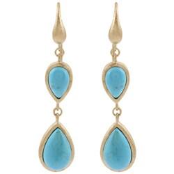 Rivka Friedman 18k Gold Overlay Blue Magnesite Earrings
